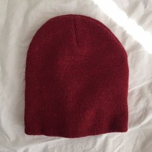 Red American apparel knit beanie